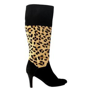 Van Eli Tall Leopard Suede Leather Boots 7